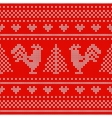Holiday seamless pattern with cross stitch vector image
