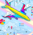 infographic set elements with airplane in raibow vector image