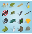 Military set icons isometric 3d style vector image