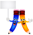 Happy pencil couple cartoon with blank sign vector image