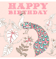Retro Birthday Floral Card vector image
