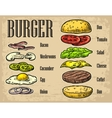 Burger ingredients on black background vector image
