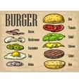 Burger ingredients on black background vector image