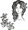 Beautiful girl with flower in her hair vector image