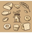 Bread grain wheat donut cake mill and Cooking vector image