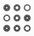 Camera shutter icons vector image