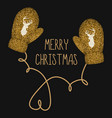 golden knitted mittens vector image