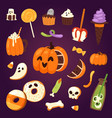 halloween cookie symbols of food night cake party vector image