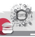 Hand drawn burger icons with food icons background vector image