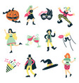 masquerade costume elements collection vector image