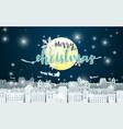 merry christmas moon and santa claus driving vector image