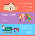 school and studying related set of posters vector image