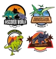 Dinosaur World Colorful Emblems vector image
