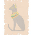 Egyptian Cat on Papyrus vector image