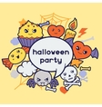 Halloween kawaii greeting card with cute doodles vector image