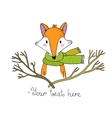Portrait of a fox in a scarf and branches vector image