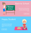 back to school web banners with teacher and pupil vector image