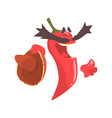 funny cartoon red pepper character with sombrero vector image