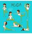 hand-drawn yoga poses vector image