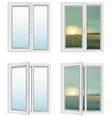 Plastic window closed and open vector image