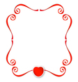 Red ribbons with heart background vector image