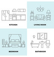 thin line rooms concepts - apartment concept vector image