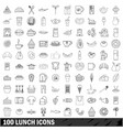 100 lunch icons set outline style vector image
