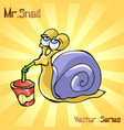 mr snail with drinks vector image