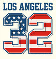athletic los angeles textured american flags vector image