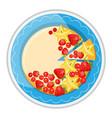 birthday cake with fresh red berries strawberries vector image