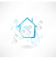 House and footsteps grunge icon vector image vector image
