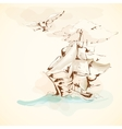 Sea adventures vintage sailboat poster vector image