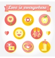 Love is cute icon and symbols set vector image