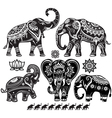 Set of decorated elephants vector image vector image
