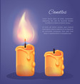 burning candles in realistic design icons vector image