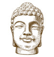 engraving drawing of stone buddha head vector image