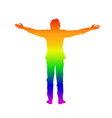 isolated rainbow silhouette of man with open arms vector image