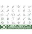 Set of Garden and Farm Elements and Fruits or vector image