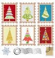 stamps with tree design vector image