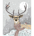 Cute hipster deer with scarf and glasses vector image