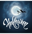 Halloween design with full moon with blue sky vector image