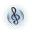 Music key comics icon vector image