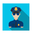 police officer icon in flat style isolated on vector image