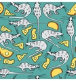 Seamless Pattern with White Rats and Cheese vector image