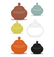 Sugar bowl of different cly types set vector image