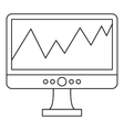 Graph on the computer monitor icon outline style vector image