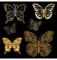 set golden butterflies vector image