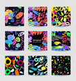 colorful seamless patterns and frame with grange vector image vector image