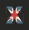 capital 3d letter x with uk flag texture isolated vector image
