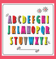 colorful funky capital letters alphabet set vector image